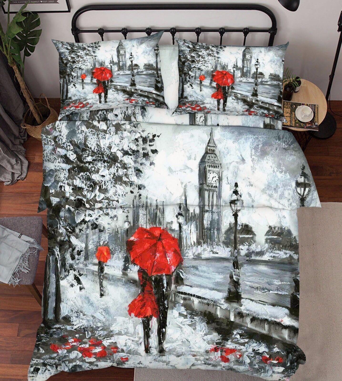 3D London Snow Scene 5Bed Pillowcases Quilt Duvet Cover Set Single Queen King AU