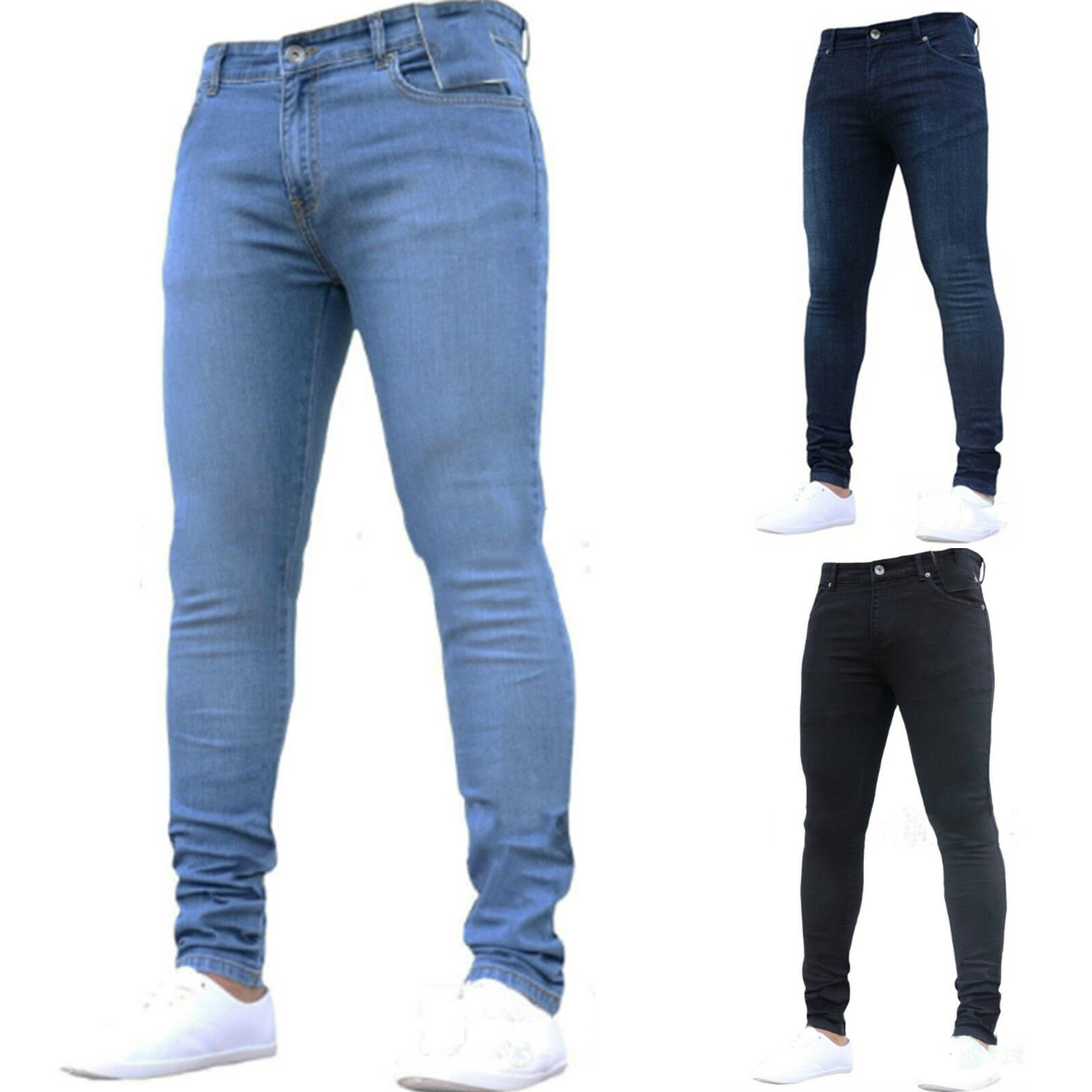 Mens Branded Firetrap Classic Pocket Ripped Detail Skinny Jeans Size Waist 30-40