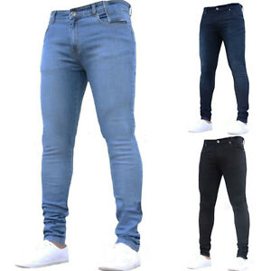 Mens-Slim-Fit-Stretch-Jeans-Fashionable-Super-Skinny-Denim-Pants-Casual-Trousers