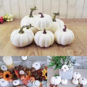 6pcs Christmas Artificial White Pumpkins Harvest Fall Thanksgiving Craft Decor Ebay