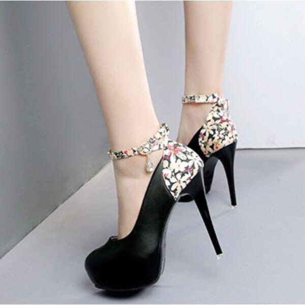 Decolte sandali chiaro chiaro chiaro nero fiori cinturino tacco plateau 12 cm simil pelle 8058 f6b8f1