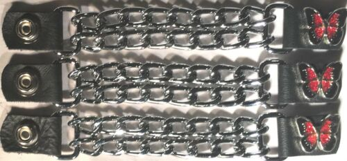 3 RED BUTTERFLY DIAMOND CUT CHROME MOTORCYCLE BIKER CHAIN VEST EXTENDERS USA