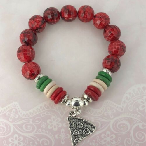 Red Green Stretchy Bracelet Friendship Sharing PIZZA Lovers Slice Charm Italy