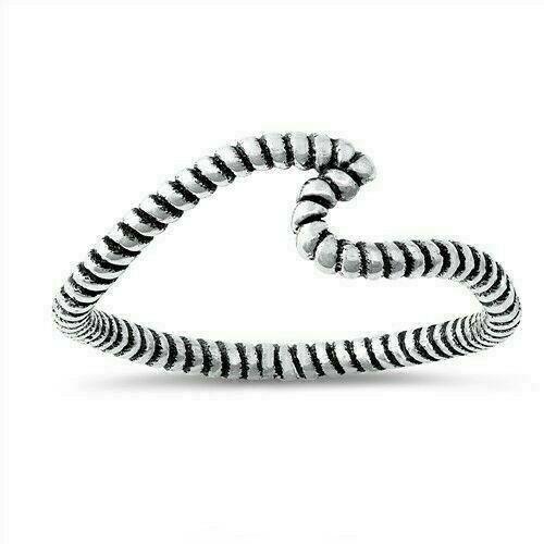 Wave Ring Véritable Argent Sterling 925 Oxydé Cadeau face HAUTEUR 7 mm taille 9