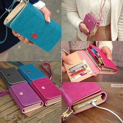 Hot Candy Color Handy Women's PU Leather Purse Long Handbag Wallet Phone Case