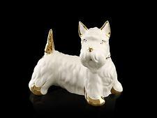 Keramik Scottish Terrier Hundefigur Swarovski Kristalle -24k Goldlegierung