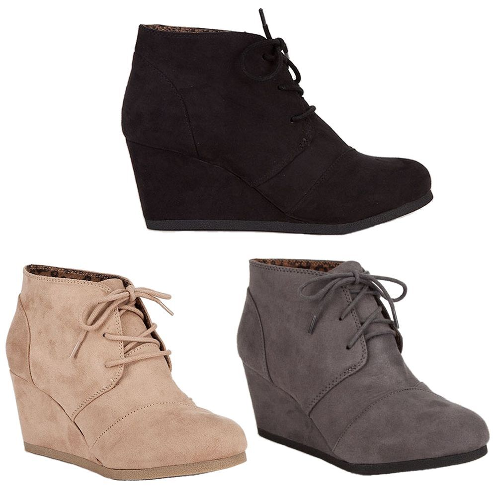 Womens Ankle Booties Lace Up Wedge High Heel  Boots Shoes City Classified REX-S