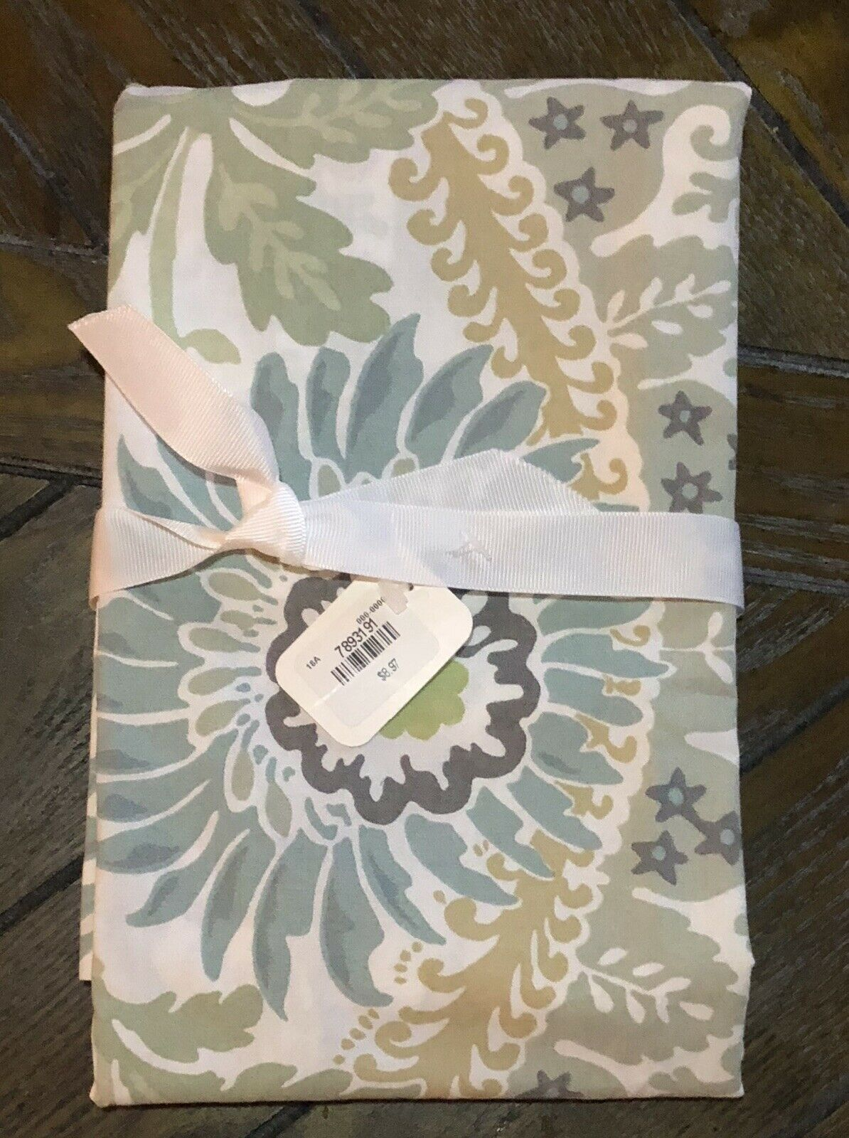 One New Pottery Barn Joni Euro Pillow Sham Cotton PB blueeee Green Floral Jacobean