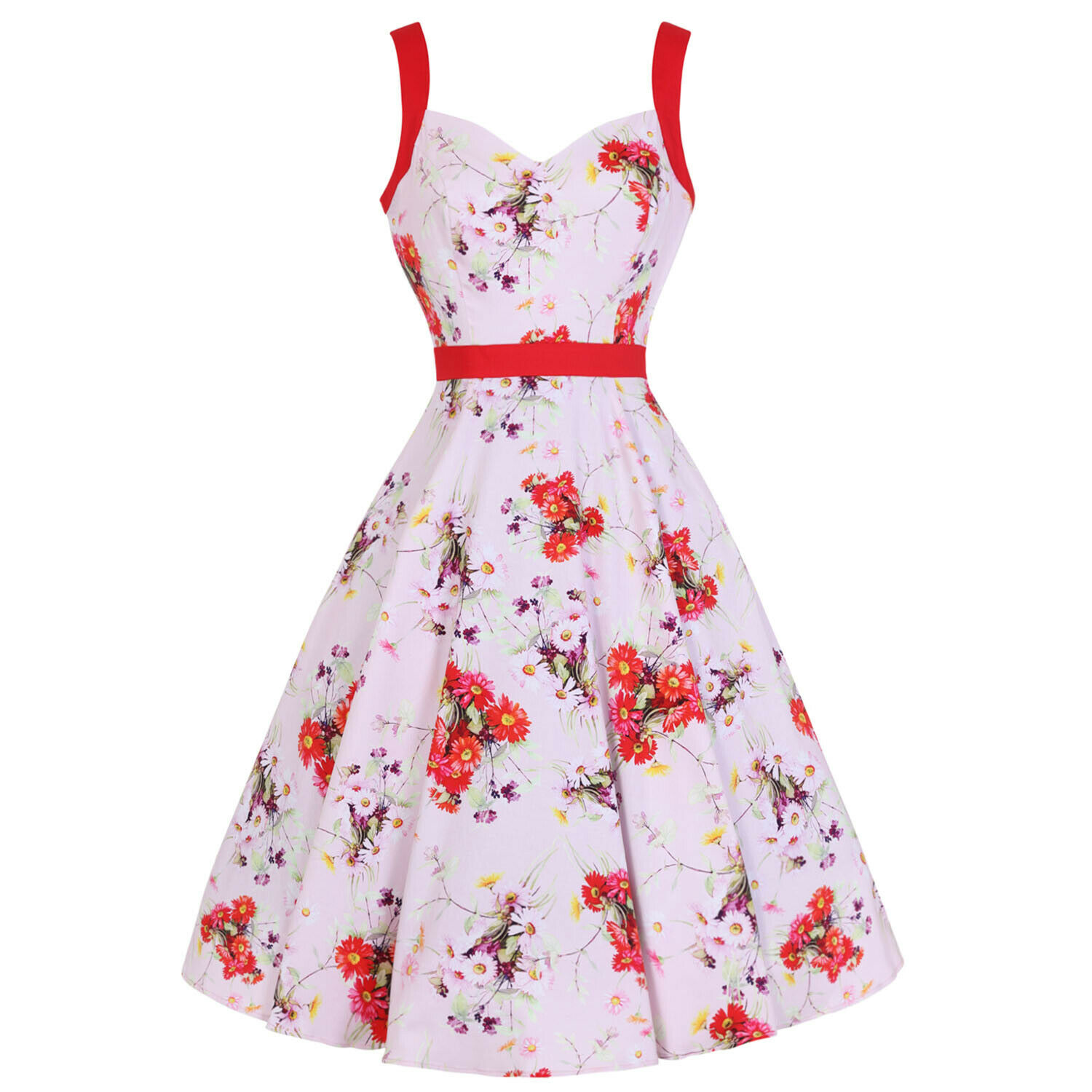 Hearts And Rosas London Neu Rosa Rot Blaumenmuster Daisy 1950er Jahre