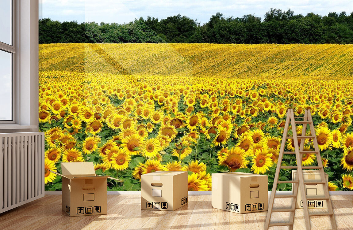 3D Sunflower ocean scenery Wall Paper Print Decal Wall Deco Indoor wall Mural