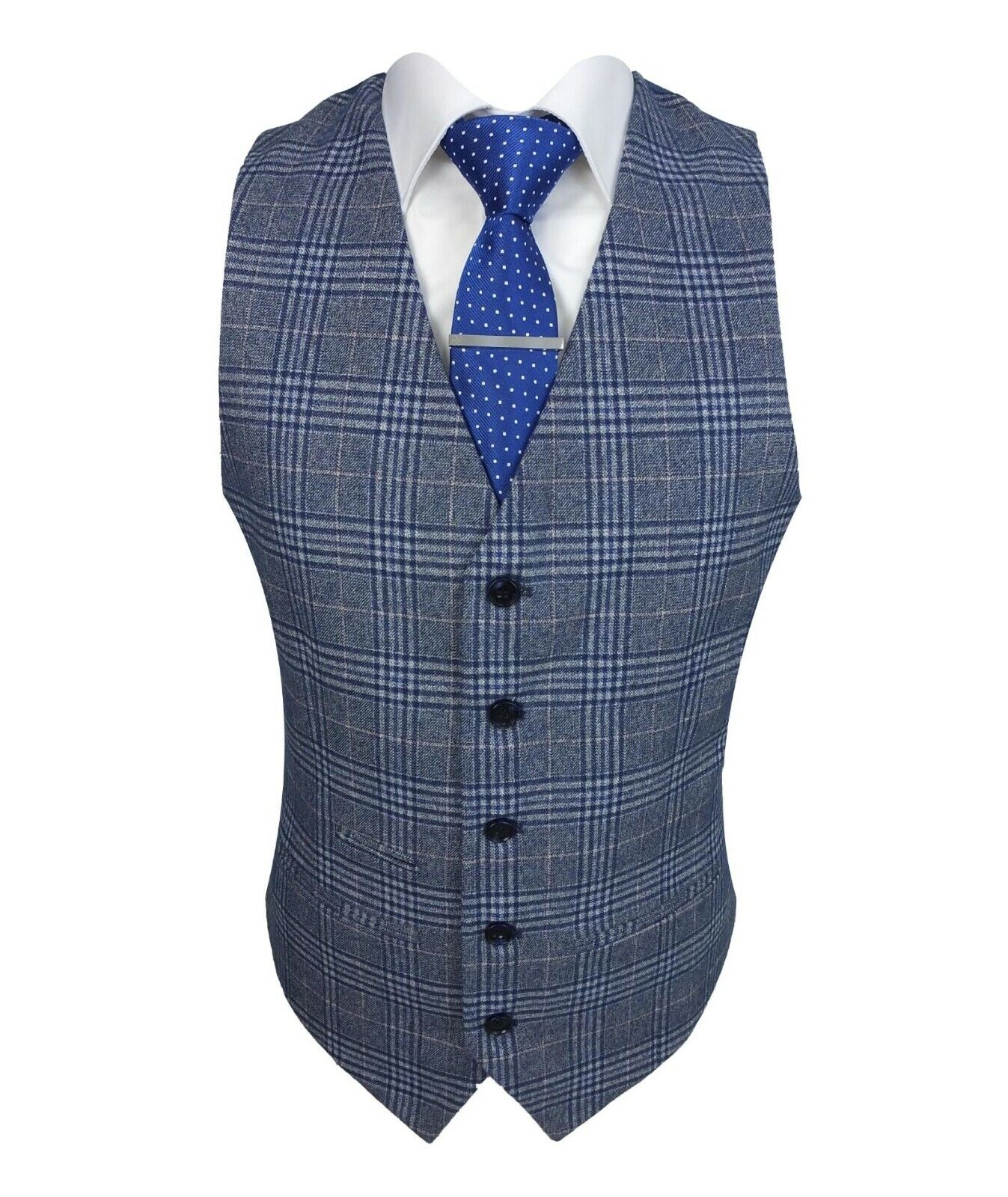 Paul Andrew Victor Mens Tailored Fit Blue Tweed Check Formal Suit