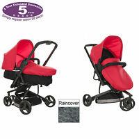Obaby Mars Red Black Chase 3 Wheel Pramette Pushchair / Pram With Raincover