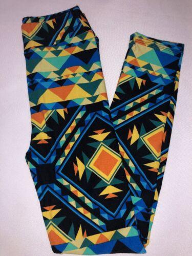 BoxDD LuLaRoe Kids Leggings L//XL New Black W// Orange Yellow Blue Green Aztec