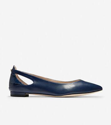 Blazer Blue Leather Bow Ballet Flats