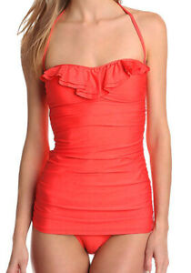 Ella-Moss-Ruffle-Ruched-Bandeau-One-Piece-Swimsuit-Swimdress-Coral-Maillot-L-Nwt