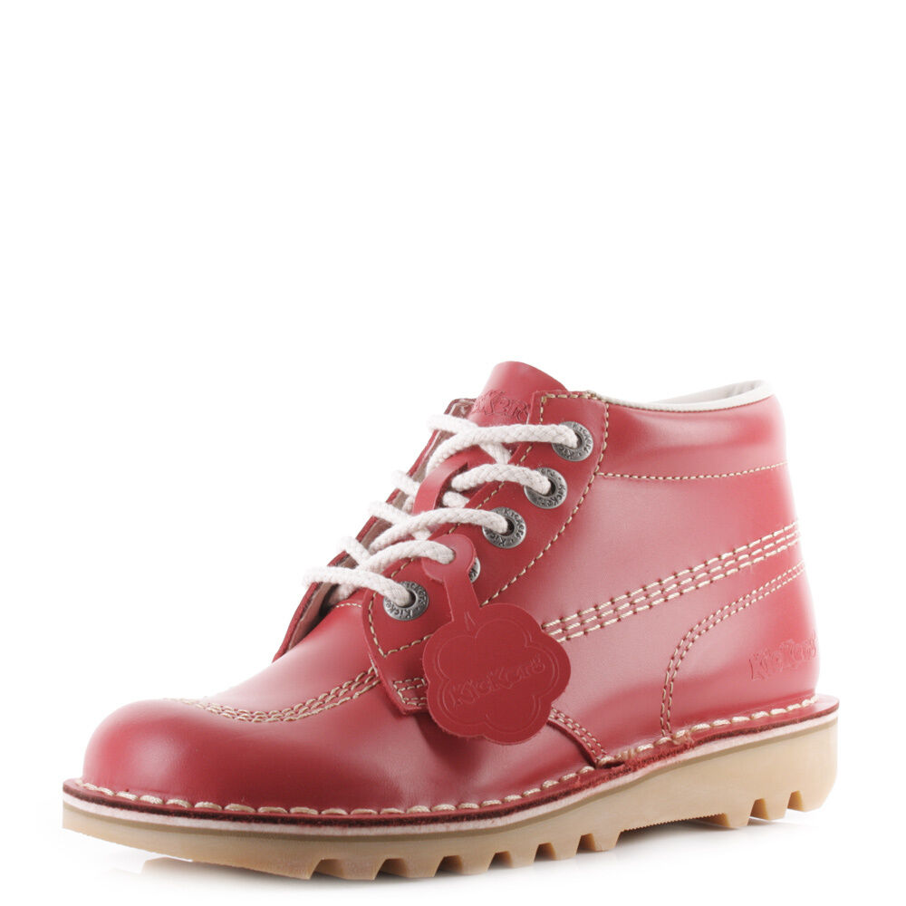 Womens Kickers Kick Nat Hi Core Red Natural Nat Kick Leather Lace Up Ankle Boots Sz Size 0ada17