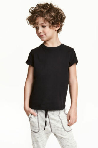 Boy/'s Kids Ex H/&M R Neck Tshirts in organic 100/% cotton Plain Solid Color jersey