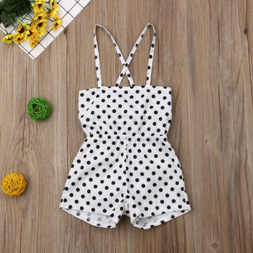 Toddler Kid Baby Girls Off ShoulderJumpsuit Romper Bodysuit Clothes Outfits Set