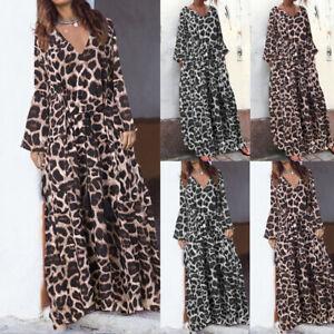 Mode-Femme-Temperament-Plisse-Manche-Longue-Col-V-Leopard-Robe-Drese-Maxi-Plus