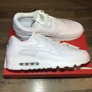 Details about NIKE AIR MAX 90 LEATHER MENS TRIPLE ALL WHITE NEW RETRO  302519-113 BIG SIZES