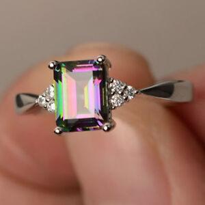 Women-Silver-Gift-Rainbow-Fire-Mystic-Topaz-Wedding-Engagement-Ring-Sz6-10