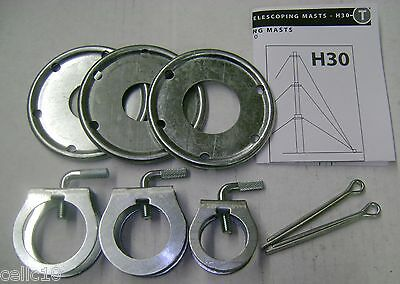 ROHN H40 Guy Ring /& Clamp Assembly Hardware Kit for 40/' ft Telscoping Mast Pole