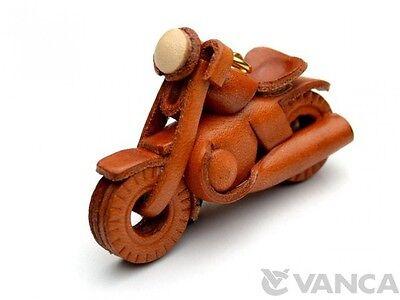 Chopper Bike Handmade 3D Leather (L) Keychain/Keyring VANCA Made in Japan #56103
