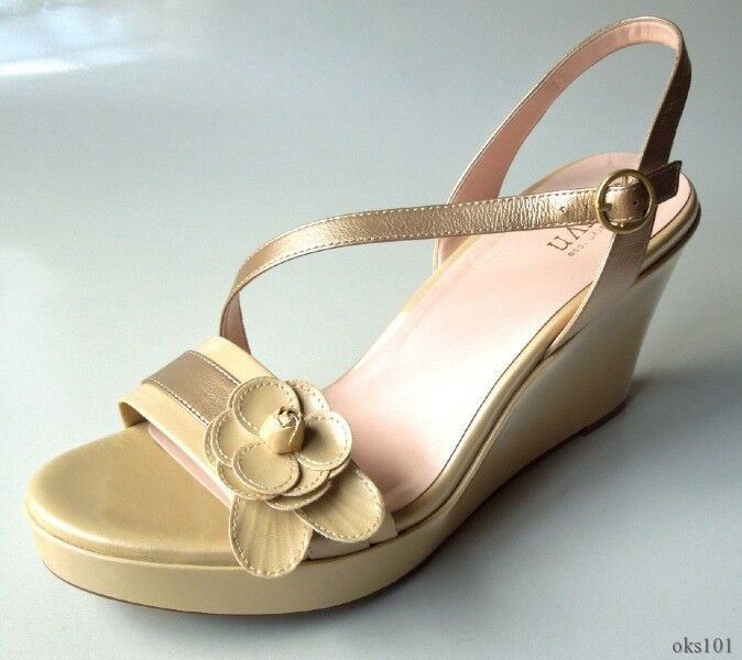 New TARYN pink 'Stacy' 'Stacy' 'Stacy' beige gold FLOWER wedges shoes 11 - very comfortable 779dea