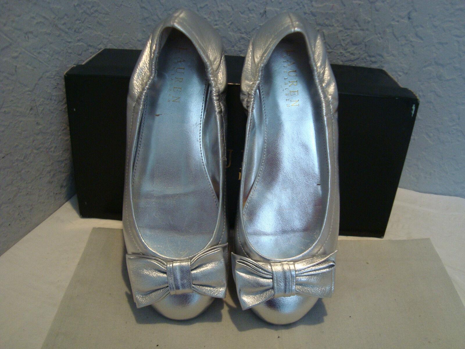 NEU Lauren Ralph Lauren Evelia Vintage Silver Grained Metallic Schuhes 5.5 B