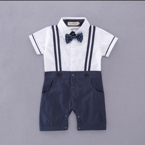 Baby Boy Toddler Fly kurzärmlig Gentleman Bodysuit Outfit Christening