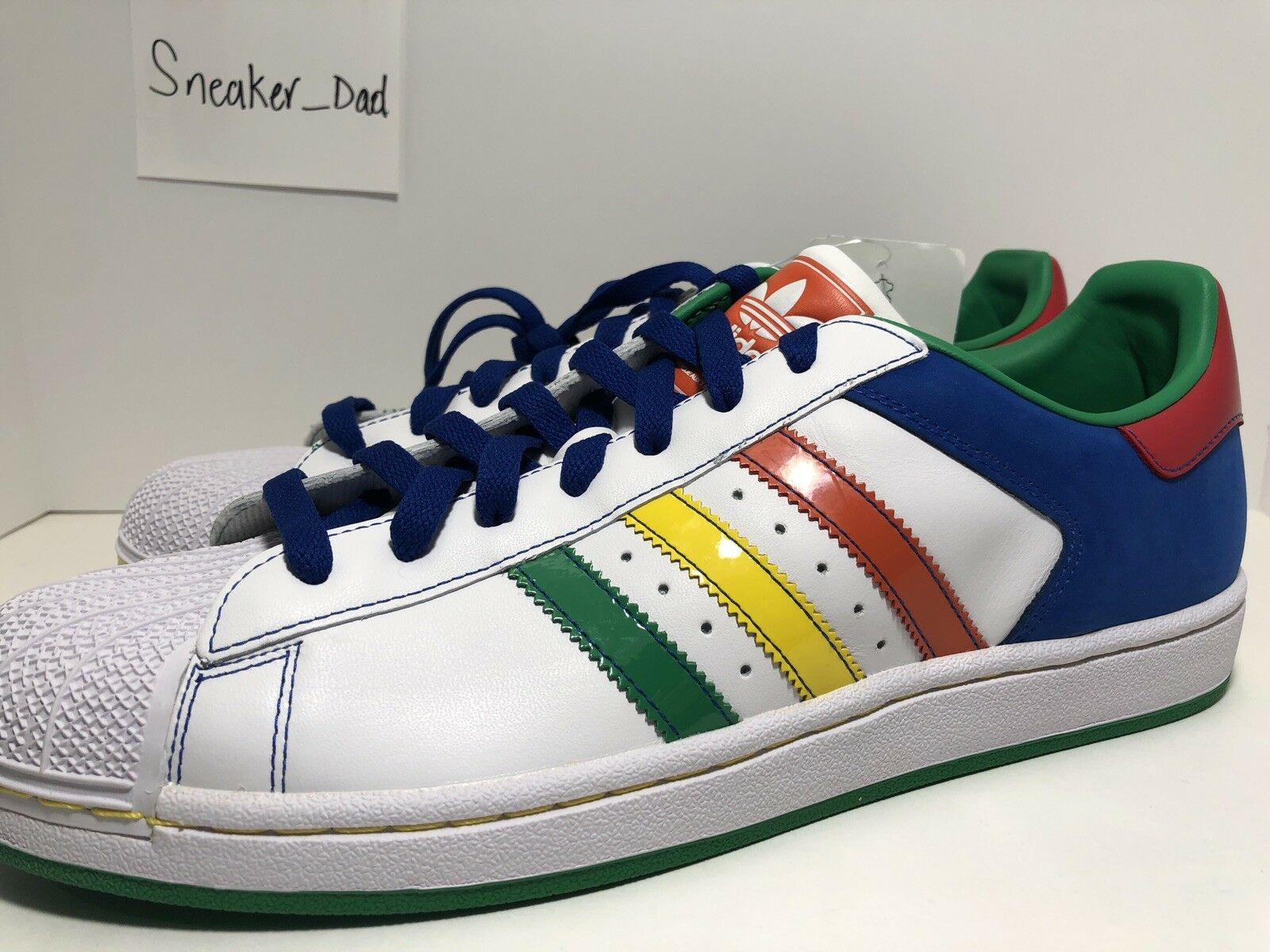 Adidas Superstar II CB White Multi color Mens Sz 12 Shell Toes Sneakers 045888