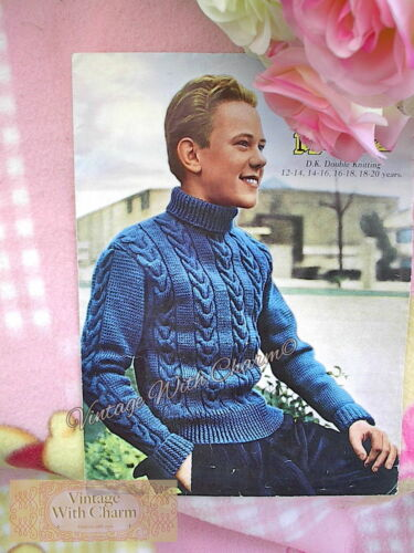 Vintage 50s Knitting Pattern Boys Teenager Roll Neck Cable Jumper 34-40ins Chest