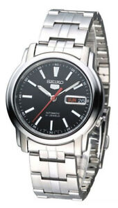 Seiko-Automatic-SNKL83-SNKL83K1-Men-Day-Date-Black-Dial-Stainless-Steel-Watch