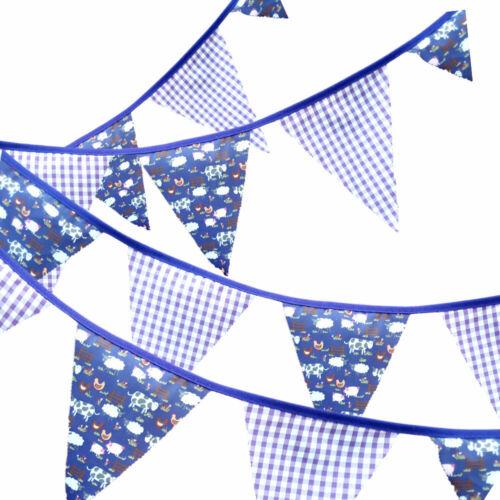 Purple Farmyard Handmade Fabric Bunting 12 Flags 10ft 3mtr  Free Postage