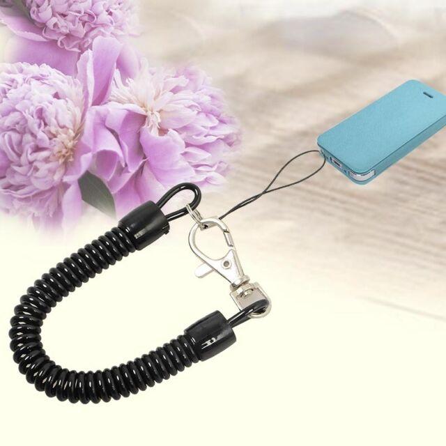 Elastic Plastic Coil Cord Rope Keyring Chain Strap Lanyard Black Hiking-Camping