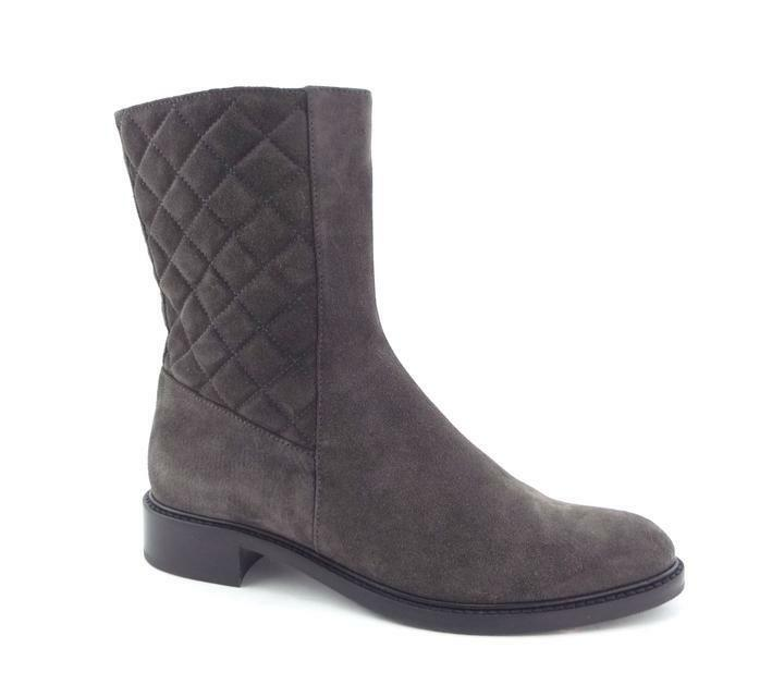 Damenschuhe AQUATALIA BOOT 9, Gail Quilted Grau Suede Zip Up Ankle Booties 9, BOOT 6 M 595 926889