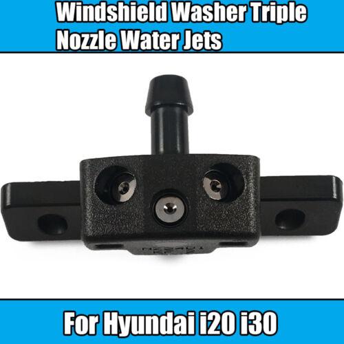 2x Windshield Washer For Hyundai i20 i30 Triple Nozzle Water Jets Black Plastic