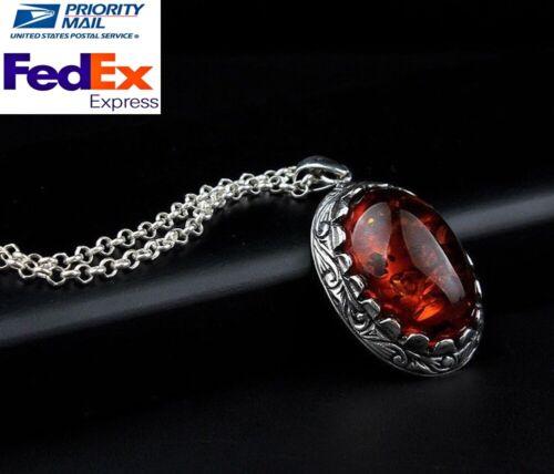 Turkish Handmade 925 sterling silver Orange Amber Mens Mans Necklace Pendant 02