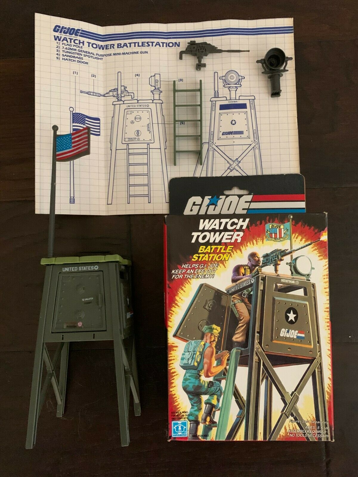 GI Joe 1984 Watch Tower battaglia Station Vintage 100% completare bluprint scatola