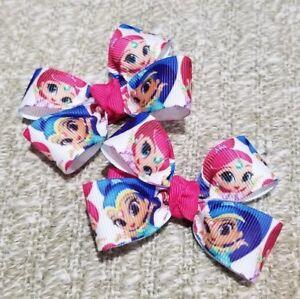 Lot of 2 Shimmer and Shine princess hair bow girl nonslip clip genie handmade