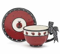 Whimsical Ladybug Teacup And Saucer Set With Bow On Handle Adorable Teacup For T on sale
