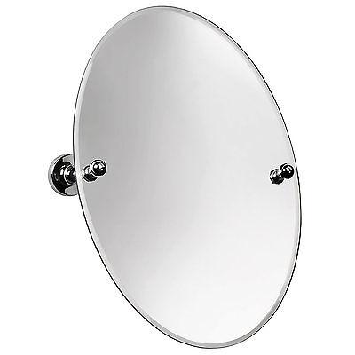 Croydex Wimborne Oval Frameless Bathroom Mirror Chrome Wall Mount 45 x 32cm