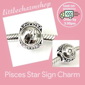 New-Authentic-Genuine-PANDORA-Silver-Pisces-Star-Sign-Charm-791935-RETIRED