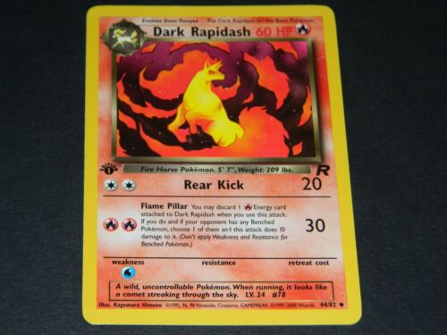 Pokemon 1st Ed. Team Rocket Set UN-COMMON Dark Rapidash 44/82 - NM/M Condition