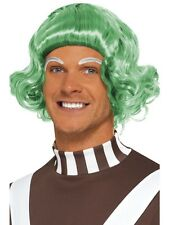 Adult Green Candy Creator Wig Outfit Fancy Dress Ooompa Loompa Umpa Lumpa Mens