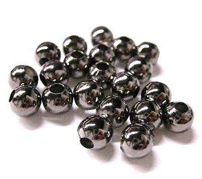 50pc 8mm gunmetal finish metal iron beads-5806