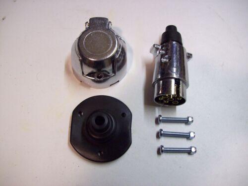 Caravan or Trailer FREE UK post 12N 7 pin Metal  Plug and Socket Kit for Towbar