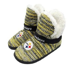 4e8d446fc7e3 Image is loading NFL-Pittsburgh-Steelers-Women-Peak-Boot-Slippers-Fluffy-