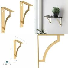 Painted Brushed Brass Steel Casual Decorative Shelf Bracket 2 Pack 8 In