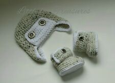 NEW Newborn Baby Boy Aviator Hat and Booties Crochet Infant Photo Prop Gift